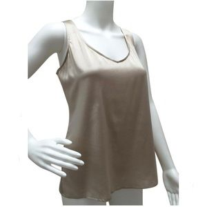 Talbots 100% Silk Charmeuse Champagne Tank Top - 2